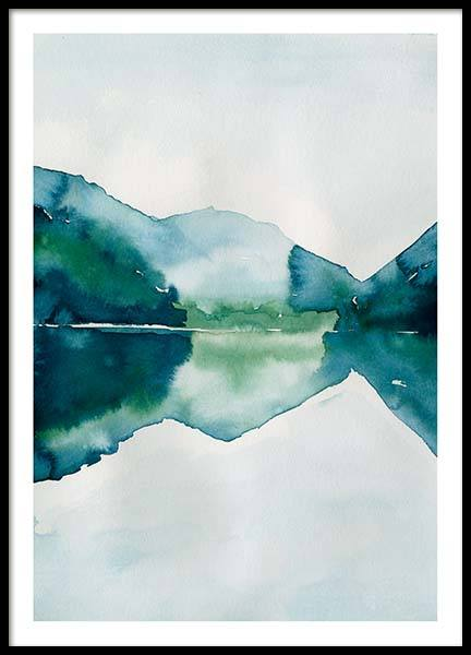 Watercolor Mountain Reflection Affiche dans le groupe Affiches / Art chez Desenio AB (10123)
