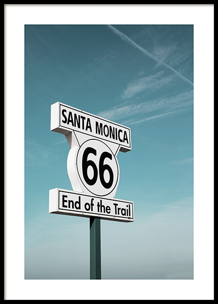 Route 66 Sign Affiche dans le groupe Studio Collections / Studio Coast to Coast / Los Angeles chez Desenio AB (10778)
