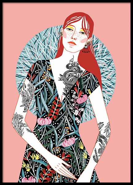 Red Head Girl Affiche dans le groupe Affiches / Illustrations chez Desenio AB (11107)