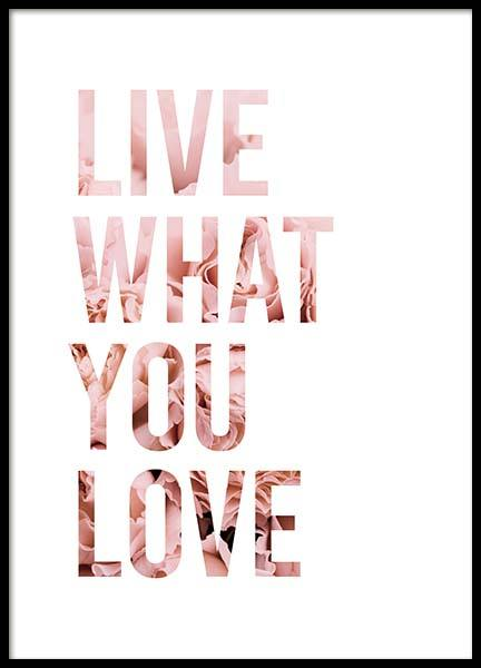 Live What You Love Affiche dans le groupe Affiches / Affiche citation chez Desenio AB (11727)