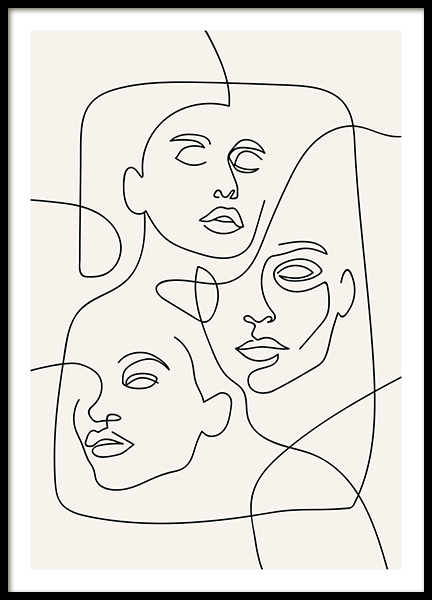 The Three Faces Line Art Affiche dans le groupe Affiches / Illustrations chez Desenio AB (12506)