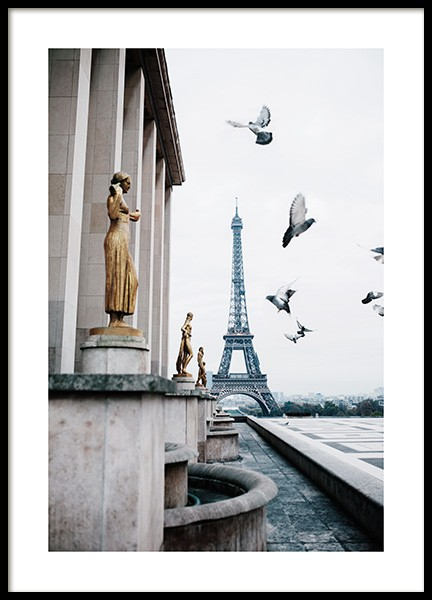 Eiffel Tower and Flying Pigeons Affiche dans le groupe  chez Desenio AB (13387)