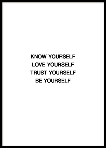Know Yourself Affiche dans le groupe Affiches / Affiche citation / Inspiration chez Desenio AB (13463)