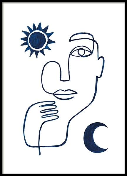 Abstract Face in Blue Affiche dans le groupe  chez Desenio AB (13664)