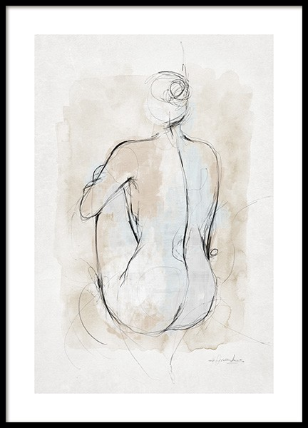 Abstract Body Sketch No1 Affiche dans le groupe Affiches / Art / Aquarelle chez Desenio AB (14055)