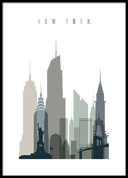 New York Skyline Affiche dans le groupe Affiches / Handpicked / Art Prints Vicky chez Desenio AB (2351)