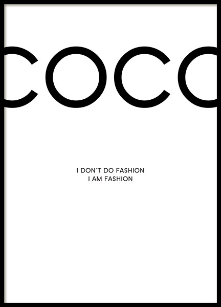 Affiche avec Chanel. Affiche avec citation de Coco Chanel en ligne.