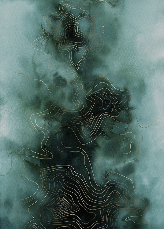 Abstract Map Green Affiche / Art chez Desenio AB (11017)