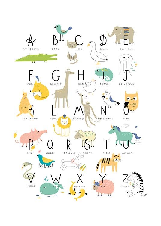 Animal Alphabet Affiche Alphabet Animalier Desenio Fr