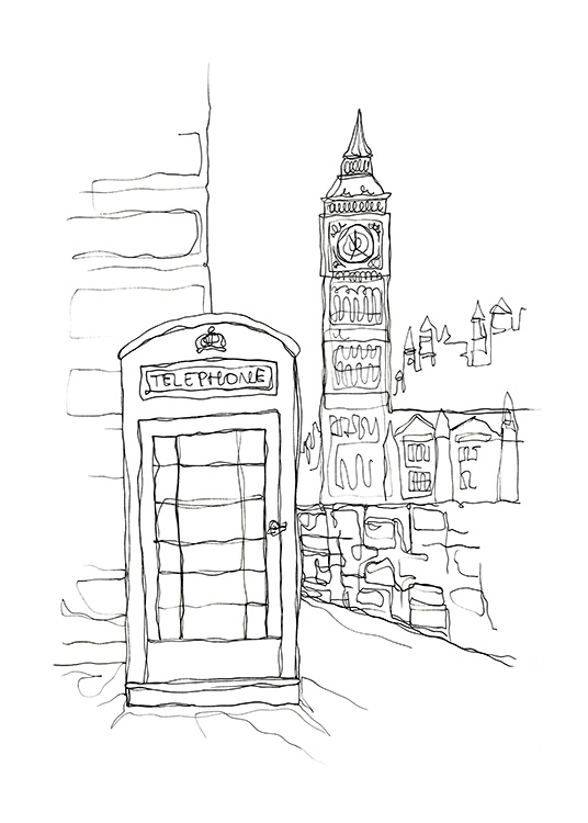 Calling For London Affiche / Noir et blanc chez Desenio AB (12924)