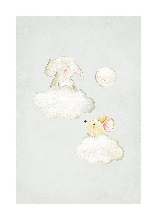 In the Clouds No2 Affiche / Illustrations d'animaux chez Desenio AB (13718)