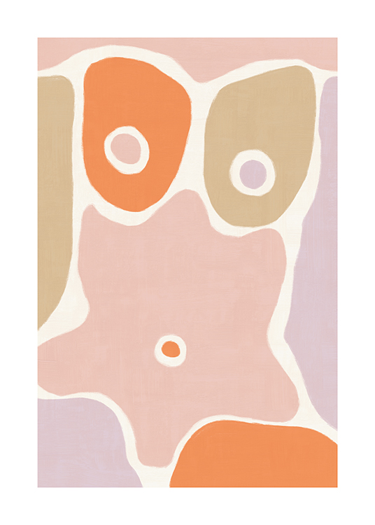 – Illustration abstraite d'un corps composé de formes en violet, rose, orange et beige