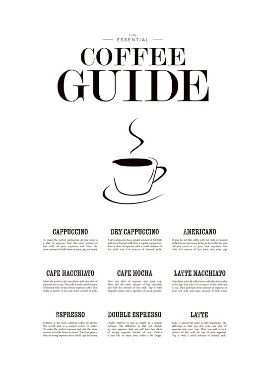 Coffee Guide, Poster / Affiche citation chez Desenio AB (7841)