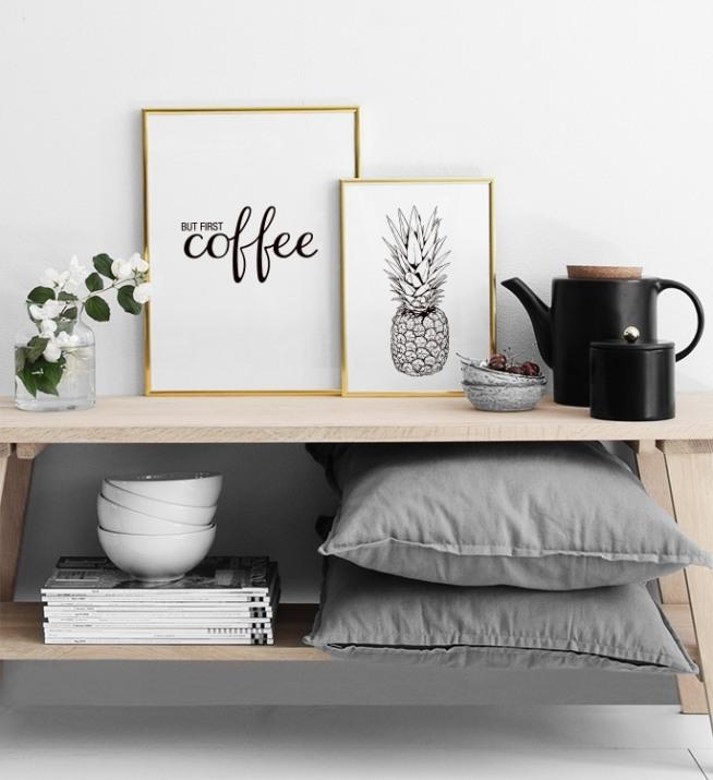 Affiche avec le texte but first coffee affiches et for Affiche pour cuisine