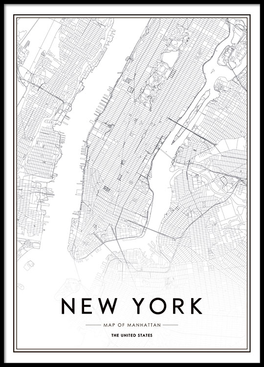affiche avec carte de new york poster affiche manhattan affiches. Black Bedroom Furniture Sets. Home Design Ideas