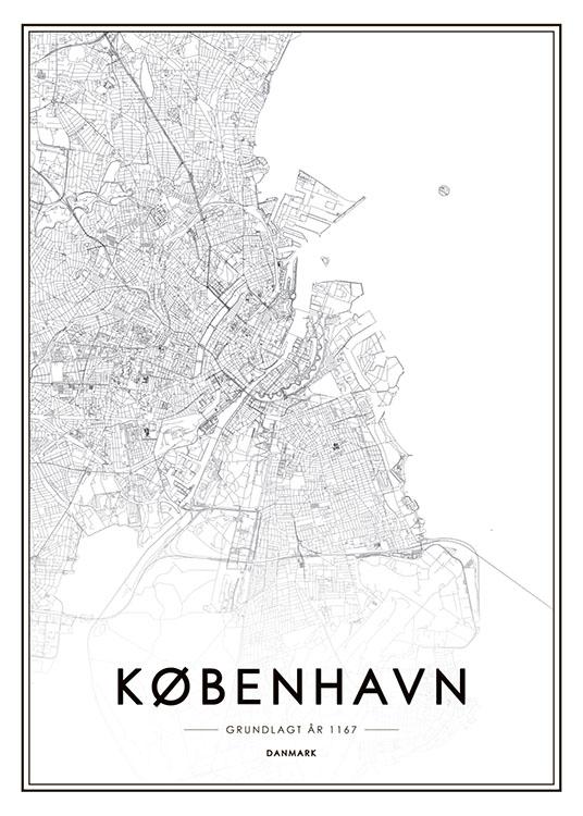 Poster Affiche Avec Carte De Copenhague