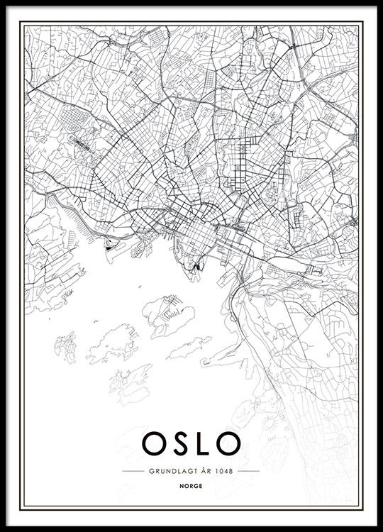Oslo Map BW Affiche Dans Le Groupe Affiches Cartes Et Villes Chez Desenio AB