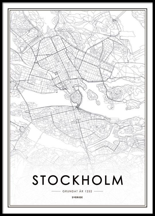 Stockholm City Map Affiche Dans Le Groupe Affiches Cartes Et Villes Chez Desenio AB