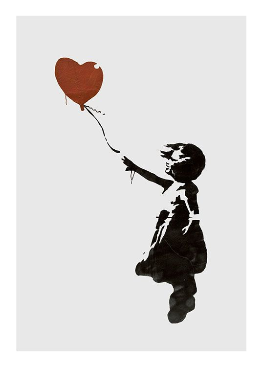 Girl With Love Balloon Grey, Affiche / Posters pour enfants chez Desenio AB (8446)