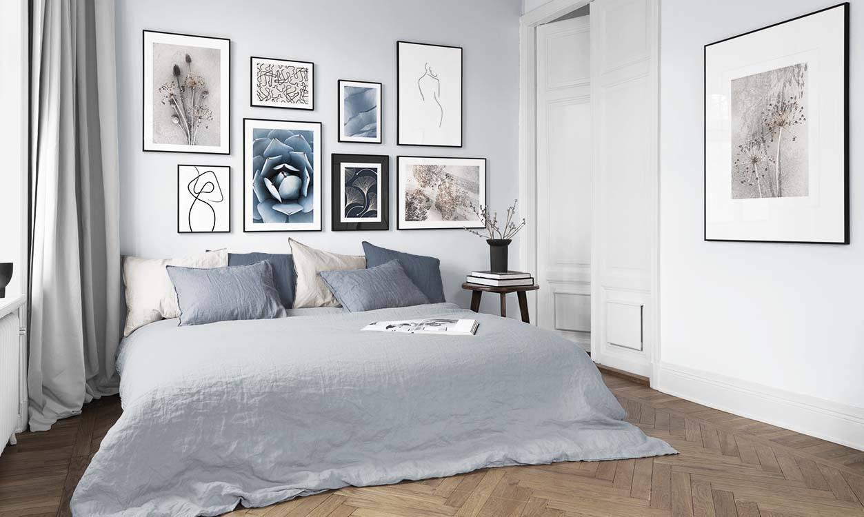 Mur De Tableaux Dans Une Chambre à Coucher Décoration Et